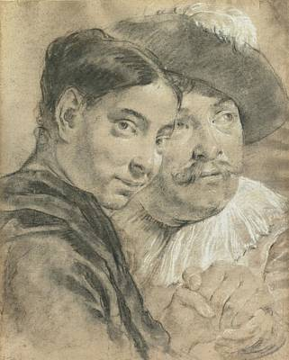 Of A Man And Woman Painting - Study Of A Man And A Woman by Giovanni Battista