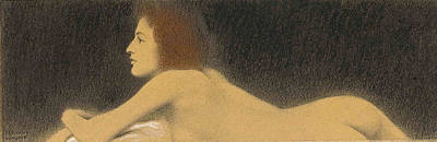 Study Of A Nude Drawing - Study Of A Nude by Fernand Khnopff