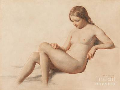 Contemplative Drawing - Study Of A Nude by William Mulready