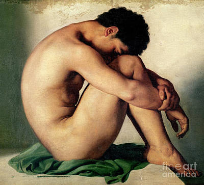 Strength Painting - Study Of A Nude Young Man, 1836  by Hippolyte Flandrin