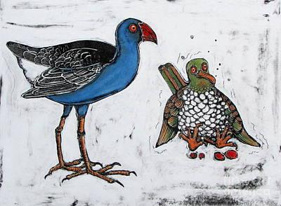 Pigeon Mixed Media - Study Of A Pukekoe And A Drunken New Zealand Wood Pigeon by Pamela Iris Harden