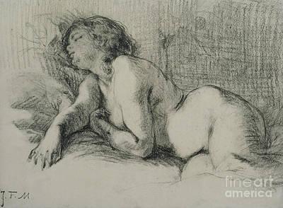 Study Of A Reclining Female Nude Art Print