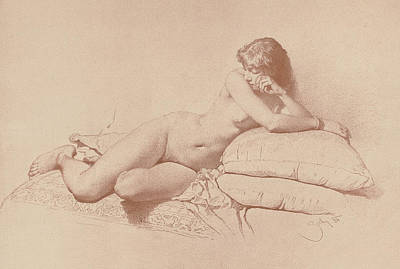 Study Of A Nude Drawing - Study Of A Reclining Female Nude by Mihaly von Zichy