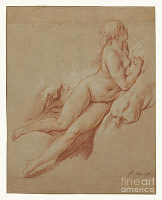 Landscapes Drawings - Study of a Reclining Nude by Francois Boucher by Esoterica Art Agency