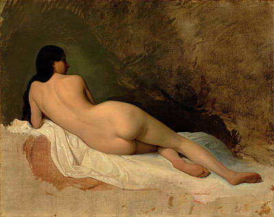 Penis Painting - Study Of A Reclining Nude by Isidore Pils