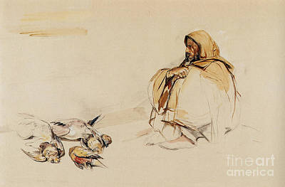 Old Painting - Study Of A Seated Arab With Dead Game by MotionAge Designs