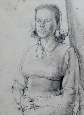 Drawing - Study Of A Seated Girl. by Harry Robertson