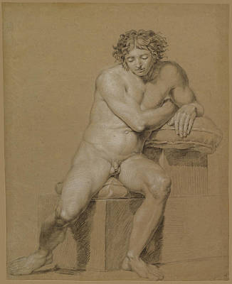 Study Of A Nude Drawing - Study Of A Seated Male Nude by Philipp Otto Runge