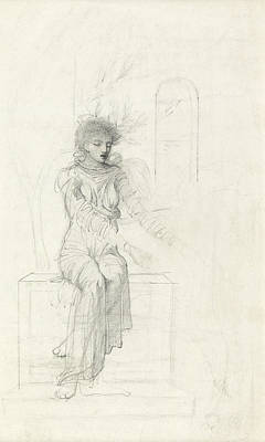 Playing Drawing - Study Of A Seated Woman by John Melhuish Strudwick