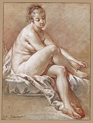 Study Of A Nude Drawing - Study Of A Seated Young Female Nude Extending Her Hands To Her Right Foot by Francois Boucher
