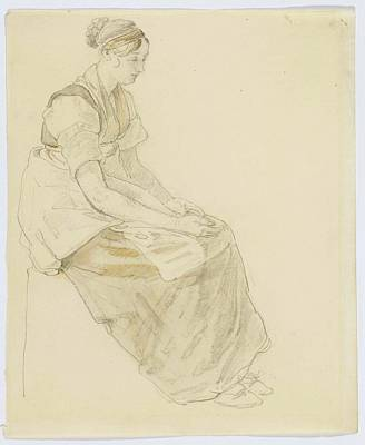 Rights Painting - Study Of A Seated Young Woman Facing Right by MotionAge Designs