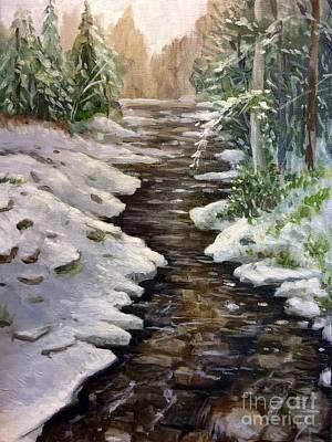 Study Of A Snowy Creek Art Print