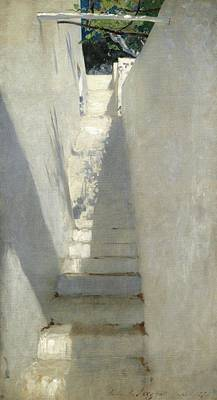 Staircase Painting - Study Of A Staircase by MotionAge Designs