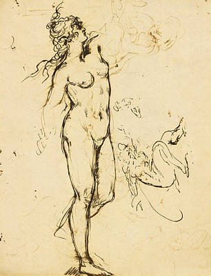 Study Of A Nude Drawing - Study Of A Standing Female Nude Reaching Upwards by Benjamin West