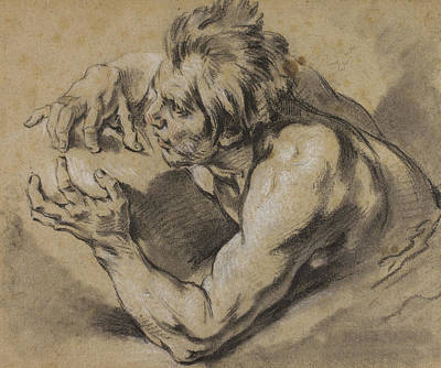 Boucher Drawing - Study Of A Triton by Francois Boucher