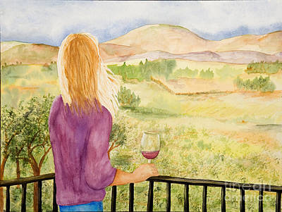 Wine Country Watercolor Painting - Study Of A Wine Ad by Vicki  Housel
