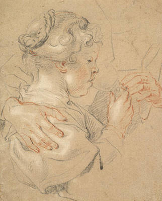 Glass Art Drawing - Study Of A Young Girl Drinking From A Glass by Jacob Jordaens