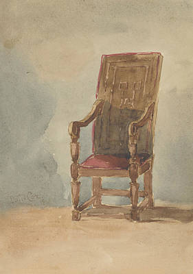Drawing - Study Of An Antique Armchair by David Cox