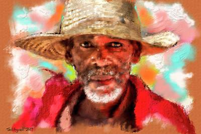 Digital Art - Study Of An Old Man by Ted Azriel