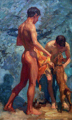 Painting - Study Of Bathing Boys by Henry Scott Tuke