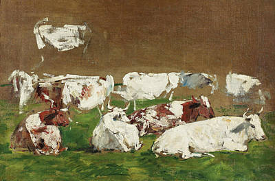 Painting - Study Of Cows by Eugene Boudin