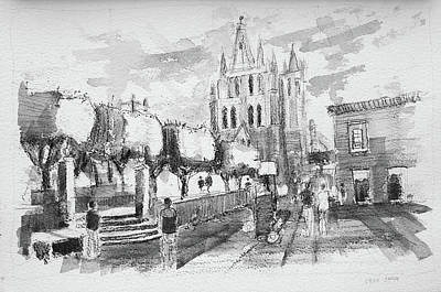 Miguel Drawings Drawing - Study Of El Jardin Principal, San Miguel by Jack Hannula