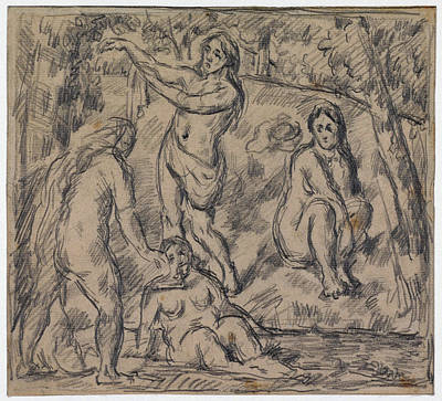 Study Of Four Women Bathing Art Print