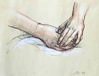 Drawing - Study Of Hands by Alejandro Lopez-Tasso