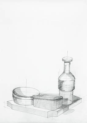 Wooden Bowls Drawing - Study Of Kitchen Objects by Dan Comaniciu