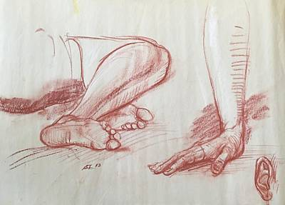 Drawing - Study Of Legs,hand And Ear by Alejandro Lopez-Tasso
