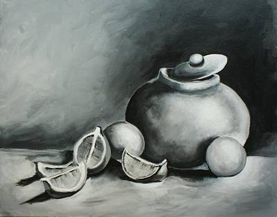 Study Of Lemons, Oranges And Covered Jug In Black And White Art Print