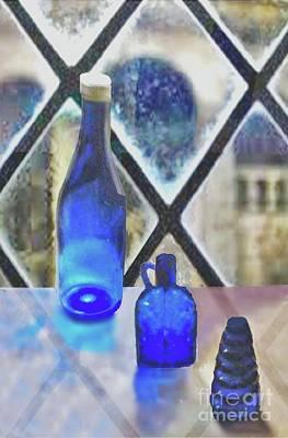Digital Art - Study Of Light On Cobalt Bottles by Janette Boyd