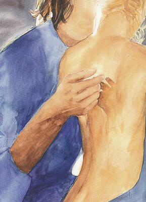Study Of Lovers  Art Print by Vicki  Housel