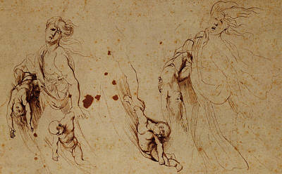 Pen And Paper Drawing - Study Of Medea Slaying Her Children by Peter Paul Rubens