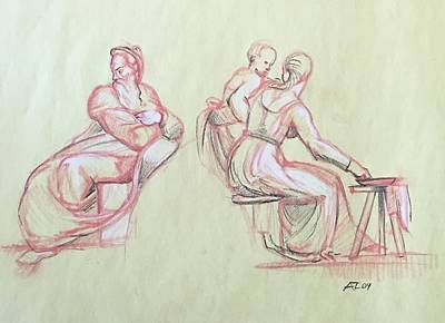 Drawing - Study Of Michelangelo Woman Man And Child by Alejandro Lopez-Tasso