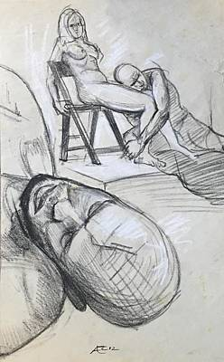 Drawing - Study Of Models by Alejandro Lopez-Tasso