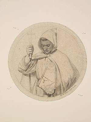 Drawing - Study Of Monk Representing The Catholic Faith by Ford Madox Brown