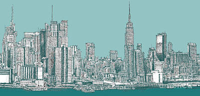Empire State Building Drawing - Study Of New York City In Turquoise  by Adendorff Design