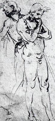 Drawing - Study Of Nude Men  by Leonardo Da Vinci