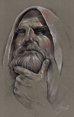 Study Of Old Man  Art Print by Ole Hedeager Mejlvang