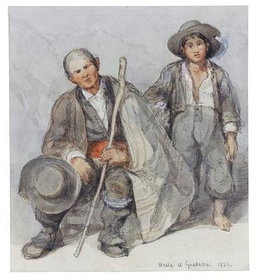 Study Of Peasants At Alcala De Guadaira Art Print by David Roberts