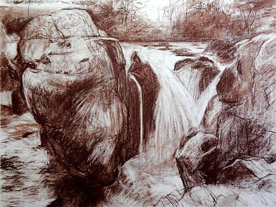 Drawing - Study Of Rocks At Betws-y-coed by Harry Robertson