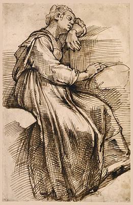 Drawing - Study Of Seated Woman Sleeping by Bartolomeo Passerotti