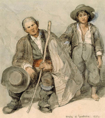 Painting - Study Of Spanish Peasants At Alcala El Guadaira by David Roberts