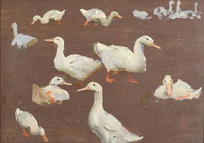 Reverse Painting -  Study Of Swans On Reverse by Alexander Mann
