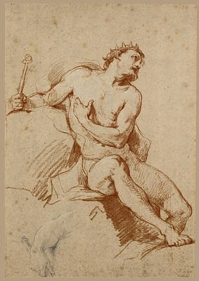 Drawing - Study Of The Figure Of Aeolus And A Study Of His Hand by Charles-Joseph Natoire