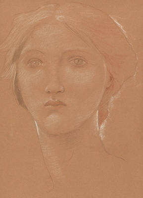 Neck Drawing - Study Of The Head Of Margaret Burne Jones by Edward Coley Burne-Jones