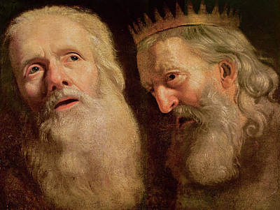 Study Of The Heads Of Two Old Men Art Print by Philippe de Champaigne