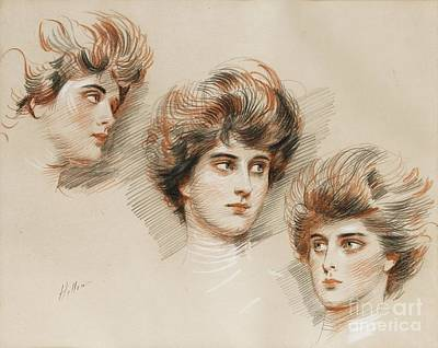 Cesar Painting - Study Of Three Faces Of Ellen by Celestial Images