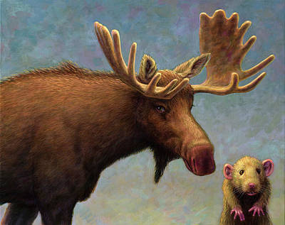 Painting - Study Of Two Mammals by James W Johnson